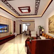 新古典中式风格大户型客厅天花设计装修效果图