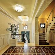 180平米欧式风格别墅实木楼梯设计装修效果图