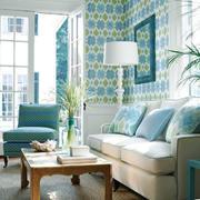 欧式田园风格自然舒适客厅墙纸装修效果图