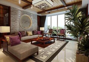 现代中式风格大户型客厅天花设计装修效果图