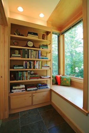 6平米现代美式风格阳台改造书房榻榻米装修效果图