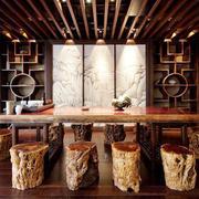 10平米中式风格餐厅博古架装修效果图