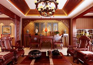 20平米中式风格客厅红木家具装修效果图赏析