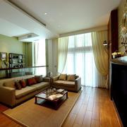 18平米现代中式风格开放式客厅书房装修效果图