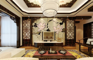 大户型中式风格客厅电视背景墙装修效果图