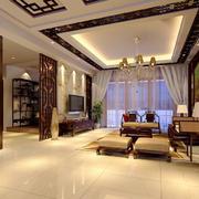 两居室现代中式客厅天花设计效果图赏析