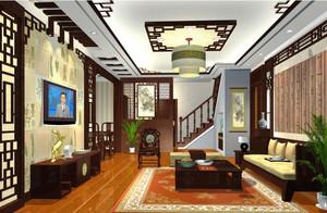 新中式风格大户型客厅沙发背景墙装修效果图