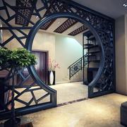 新中式风格复式楼客厅玄关隔断设计效果图