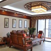 120平米中式风格客厅阳台设计效果图鉴赏