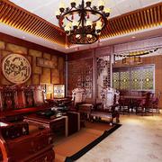 156平米大户型中式客厅餐厅屏风隔断装修效果图