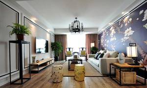23平米现代中式风格客厅壁画装修效果图赏析