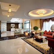 欧式风格豪华两层别墅客厅吊顶装修效果图