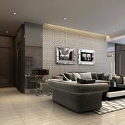 15平米现代简约风格黑白客厅装修效果图鉴赏