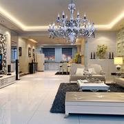简欧风格大户型客厅豪华灯具装修效果图