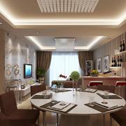 现代风格开放式客厅餐厅吧台设计装修效果图