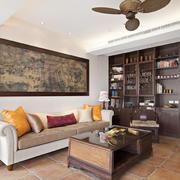 20平米新中式风格客厅储物柜设计装修效果图