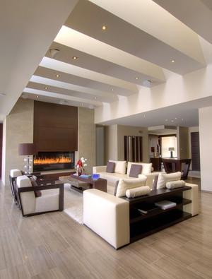 后现代简约风格别墅客厅有梁吊顶装修效果图
