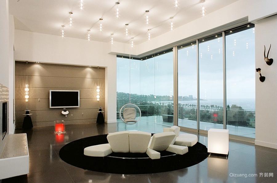 现代风格大户型客厅落地窗设计装修效果图