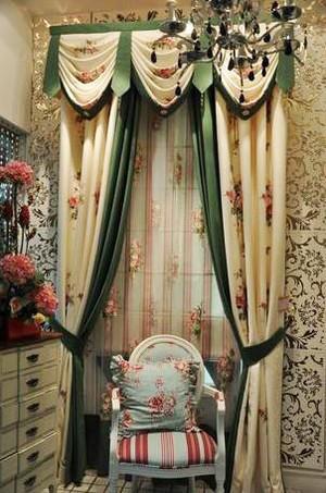 美式田园风格窗帘设计装修效果图
