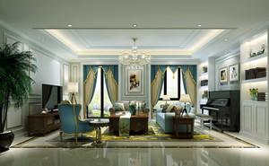 大户型法式风格客厅正方形吊顶设计效果图鉴赏