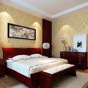 10平米中式风格卧室床头挂画装修效果图