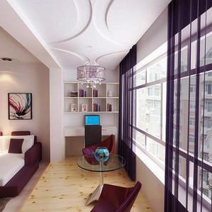 5平米现代简约阳台改造书房装修效果图