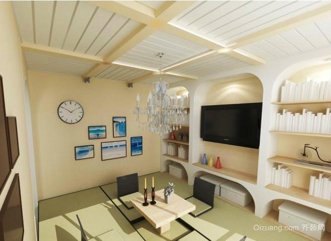 日式风格小户型跃层客厅有梁吊顶装修效果图