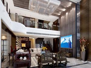 214平米别墅中式风格中空客厅装修效果图鉴赏