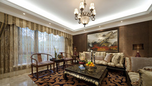 中西风格混搭精致客厅窗帘设计装修效果图