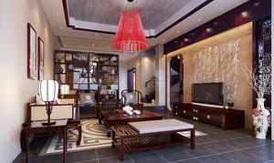 20平米现代中式风格客厅电视背景墙装修效果图