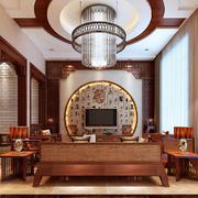 大户型现代中式风格客厅圆形吊顶装修效果图