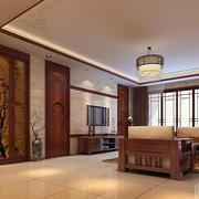 新中式风格大户型长方形客厅吊顶效果图