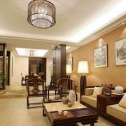 大户型现代中式风格客厅挂画装修实景图