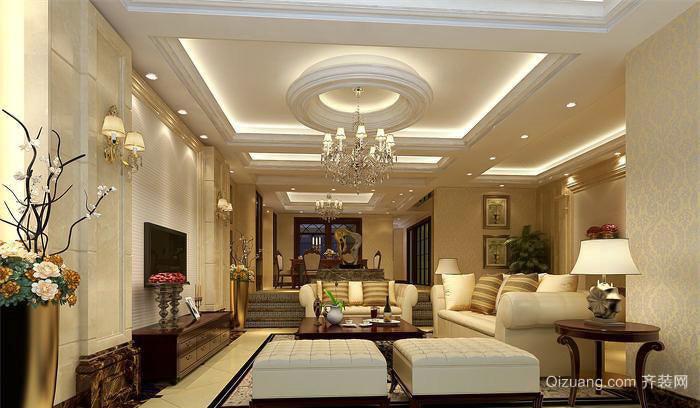 美式风格精致华丽客厅吊顶设计装修效果图