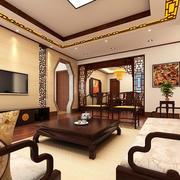 26平米现代中式风格客厅门套设计装修效果图