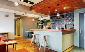 大户型后现代风格开放式厨房吧台装修效果图