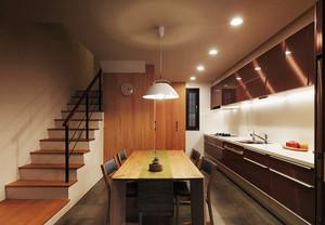 现代简约风格跃层开放式厨房餐厅楼梯装修效果图