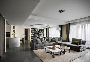 大户型后现代风格开放式客厅窗帘装修效果图