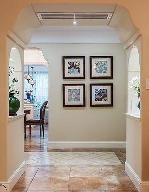 大户型现代美式风格进门玄关挂画装修效果图