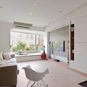 北欧极简主义风格客厅飘窗设计效果图