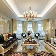 别墅型欧式风格客厅吸顶灯设计实景实例
