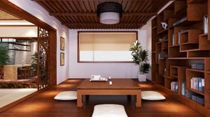 10平米复古中式榻榻米书房博古架装修效果图