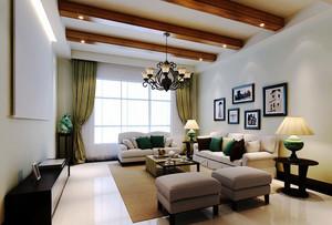 美式乡村风格客厅实木吊顶设计效果图赏析