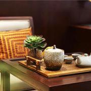 现代中式风格榻榻米实木茶几设计实景图