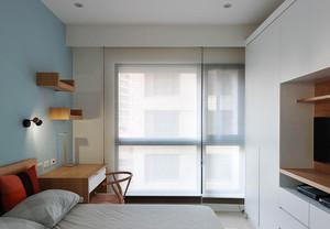 北欧风格简约自然女生无飘窗卧室装修效果图