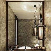 现代中式风格创意复古卫生间洗漱台装修效果图