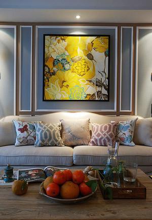 现代美式风格客厅沙发背景墙装修效果图