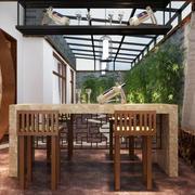 130平米中式风格客厅阳台设计装修效果图