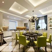 美式风格三居室餐厅有梁吊顶装修效果图