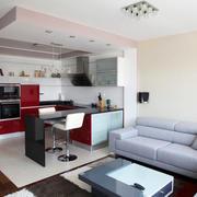 现代风格小户型开放式厨房吧台效果图赏析